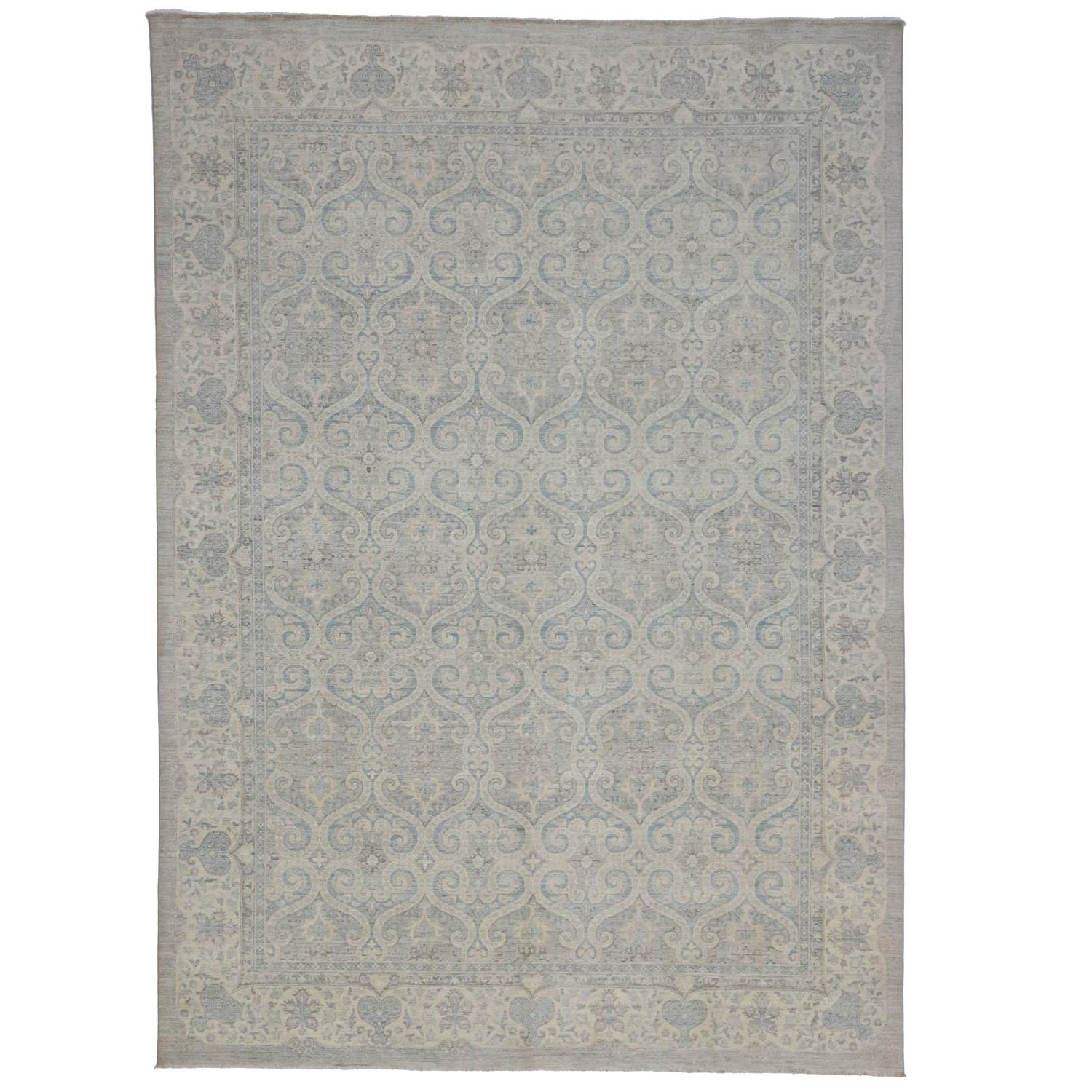 Transitional Rug With Modernized Moroccan Ogee Flavor For