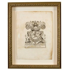 18th Century French Coat of Arms Etching of Jean D'audibert, Comte De Lussan