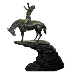 """Bronze Clad """"Indian on Horse"""" Signed McKay, Jr. Native American"""