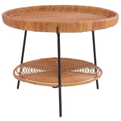 Wicker Rattan and Iron Occasional Table by Raymor