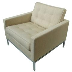 Beige-Cream Wool Club Chair by Florence Knoll
