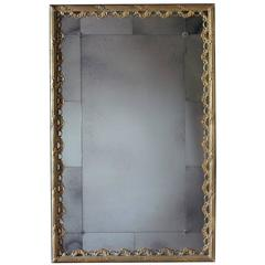 Reeded Rectangular Mirror with Sectioned Glass Border