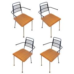 1950s American Modern Set of Four Atomic Age Wrought Iron Dining Chairs