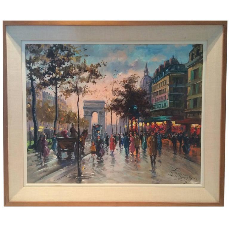"""Francois Gerome, """"L'au Des Champs Elysees A Paris"""" Painting"""