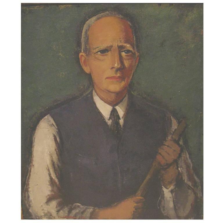 Self-Portrait of the Danish Artist Ernst Zeuthen with a Paintbrush