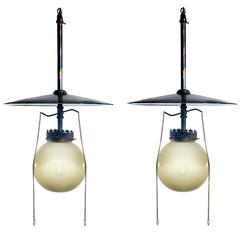 Vaseline Glass Gas Lamp