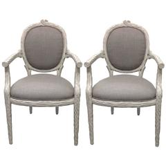Painted White Faux-Bois Armchairs, Pair