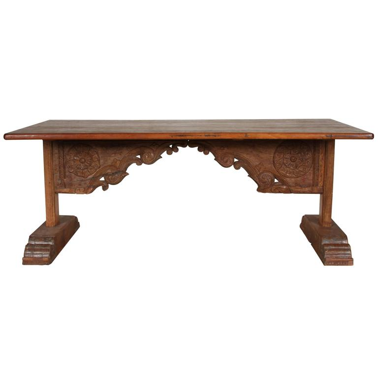 Indian Wood Table with Incorporated Antique Carved Lintel For Sale - Indian Wood Table With Incorporated Antique Carved Lintel For Sale