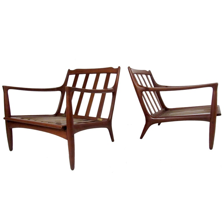 Pair of Sculpted Mid-Century Lounge Chairs For Sale