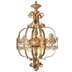 Early 20th Century Ornate Iron Theatre Pendant
