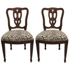 Pair of Hollywood Regency Tassel-Motif Leopard Chairs