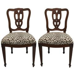Perfect Pair Of Hollywood Regency Tassel Motif Leopard Chairs