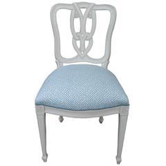 Hollywood Regency White Painted Tassel-Motif Side Chair