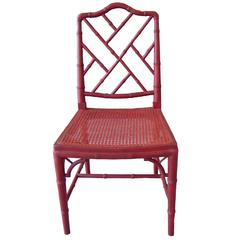 1960s Red Chinoiserie Bamboo-Style Chair