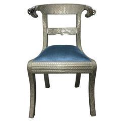 Indian Repoussé Ram's Head Side Chair