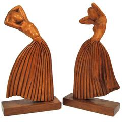 Pair of Hand-Carved Art Deco Dancing Female Figures