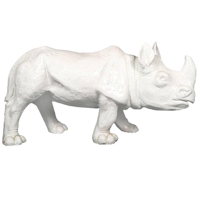 1970s Large White Glazed Terracotta Rhino