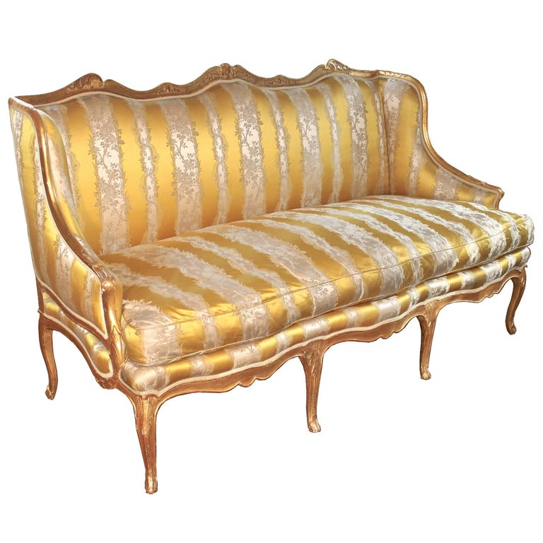 Louis XV Giltwood French Canape a Oreilles For Sale
