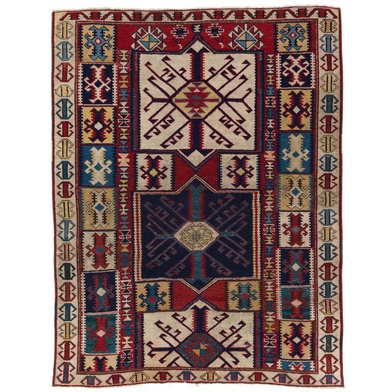 Caucasian Kilim Rug: Antique Caucasian Kuba Rug With Unusual Kilim Design For