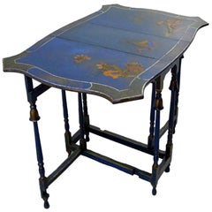 Chinese Export-Style Chinoiserie Gate-Leg Drop Leaf Tea Table