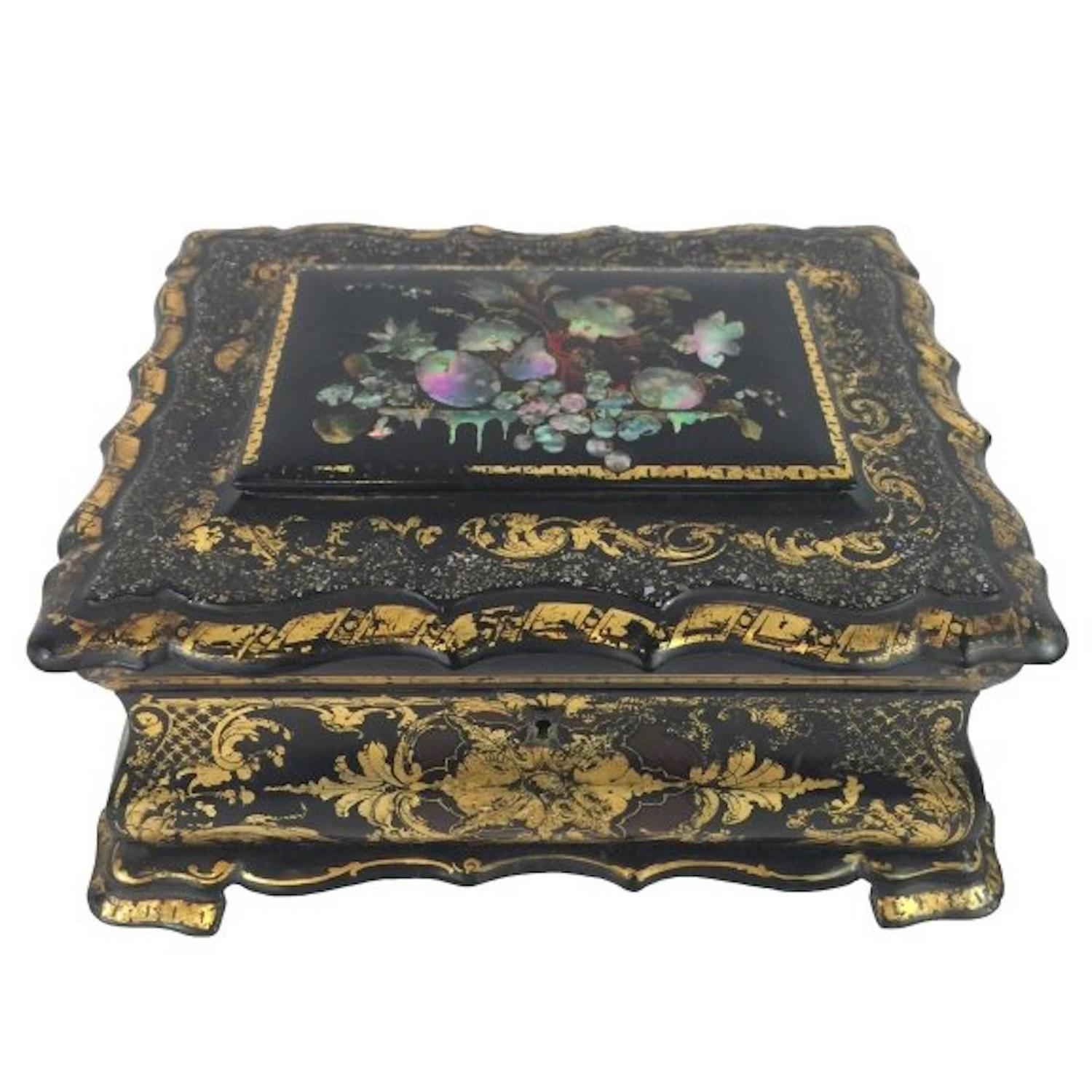 Victorian papier m ché sewing box at stdibs