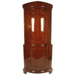 Biedermeier Period Corner Cupboard, circa 1830-1840, Mahogany Veneered
