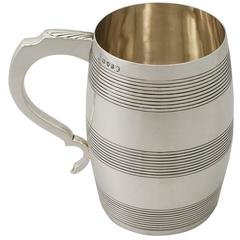 Antique George III Sterling Silver 'Barrel' Quart Mug