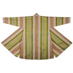 Early 20th Century Uzbek Silk and Cotton, Silk Warp, Cotton Vert, Men's Chapan