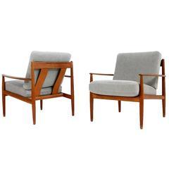 Pair of Grete Jalk Teak Lounge Chairs Danish Modern Design, 1960s Midcentury