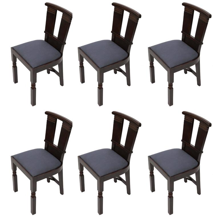 Set of Six Upholstered Dining Chairs by Charles Dudouyt 1
