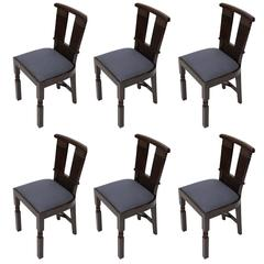 Set of Six Upholstered Dining Chairs by Charles Dudouyt