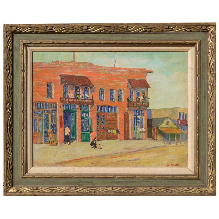 20h Century Los Angeles Oil on Canvas Painting by R. Platt, circa 1930s