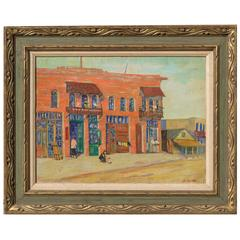 20h Century Los Angeles Oil on Canvas Painting by R. Platt, circa 1930s