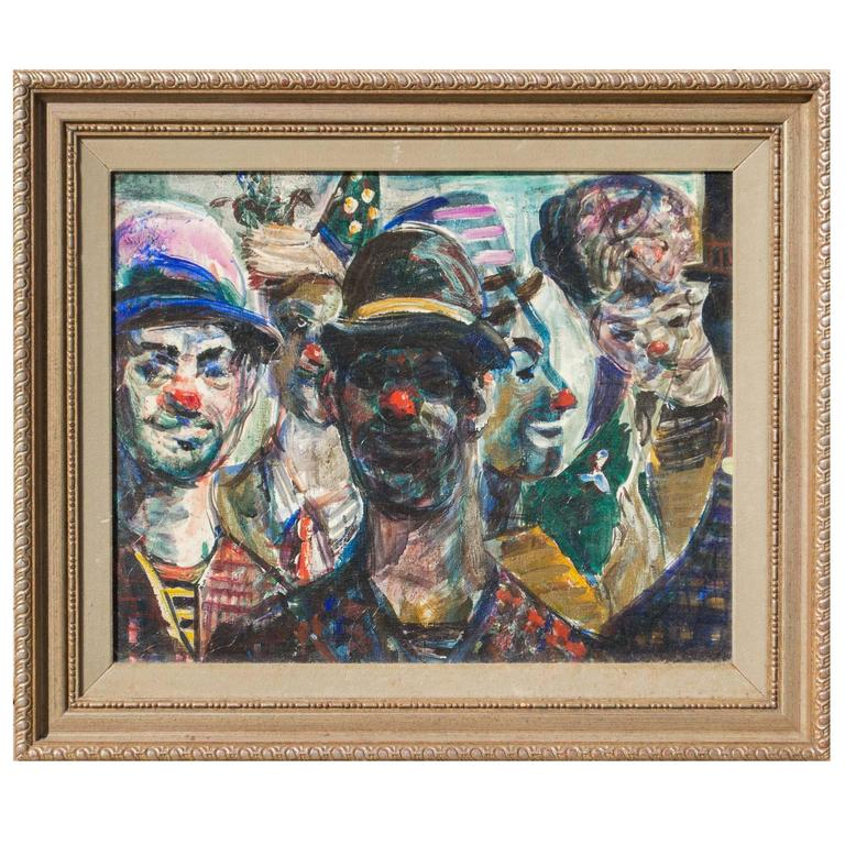 Study of Circus Clowns, Oil on Canvas, by Pat Cucaro, circa 1973 For Sale