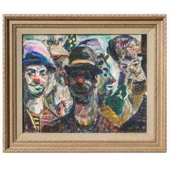 Study of Circus Clowns, Oil on Canvas, by Pat Cucaro, circa 1973