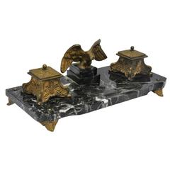 19th Century French Marble and Bronze Inkwell with Eagle