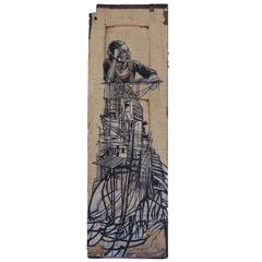 "Swoon ""Girl from the Rangoon Provence"" Wheat Paste on Found Object"