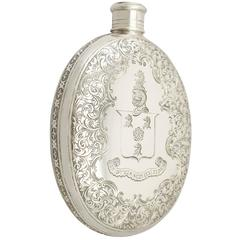 Sterling Silver Hip Flask, Antique Victorian