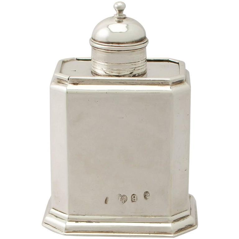 Britannia Standard Silver Tea Caddy, Antique George I