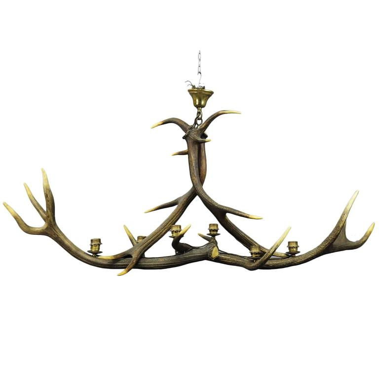 Vintage Antler Chandelier With Six Spouts For