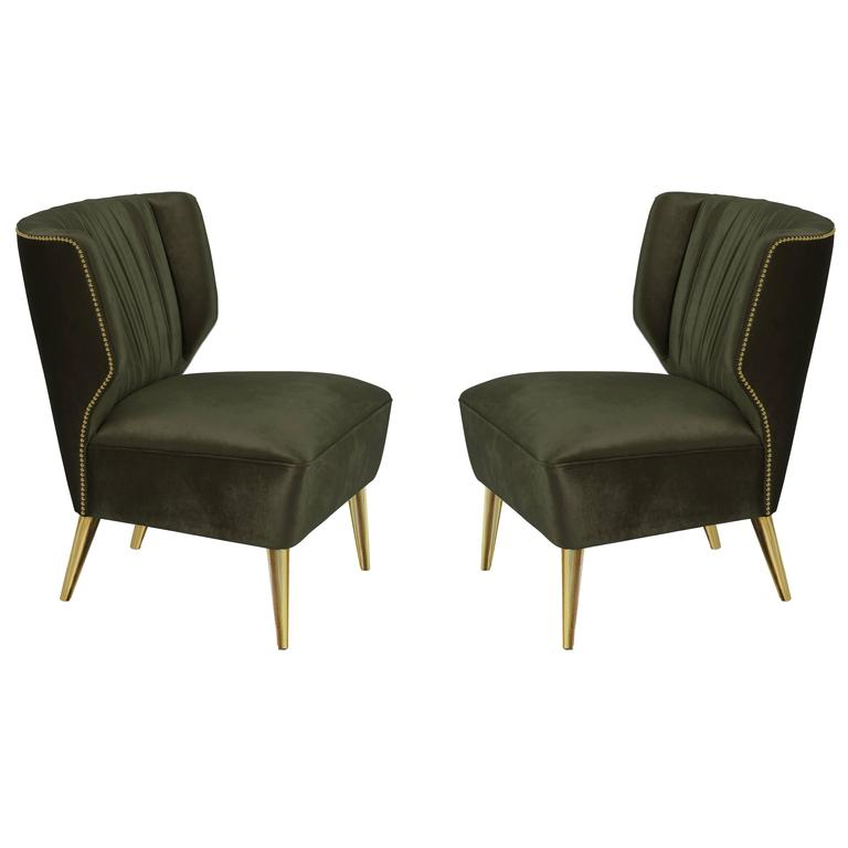 Exceptional Pair Of Bakairi Satin Velvet Olive Green And Gold Leaf Armchairs By Brabbu 1