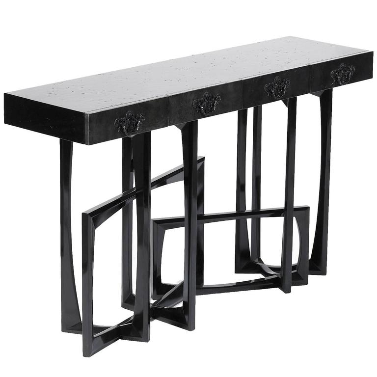 Black Lacquered Console Table With Drawers For Sale At 1stdibs