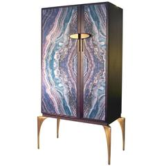 Modern Oak and Cast Brass Faux Marble two-door High Cabinet from France