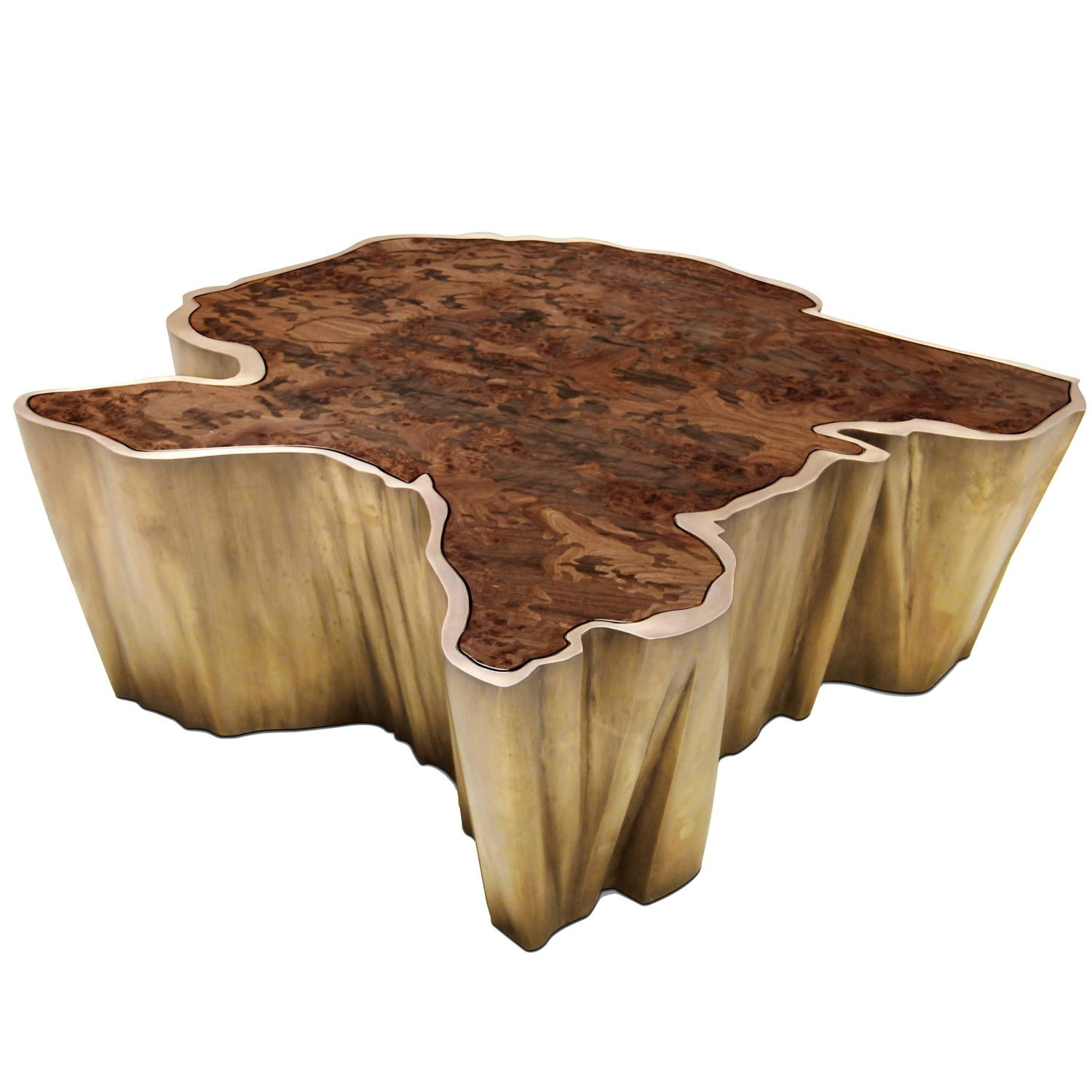 Brabbu Walnut and Brass organic modern Coffee Table Fifty Shades
