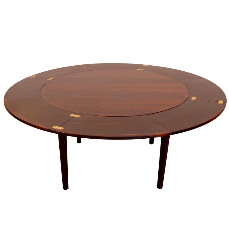 Dyrlund Dinning Table With Pull Out Leaves At 1stdibs