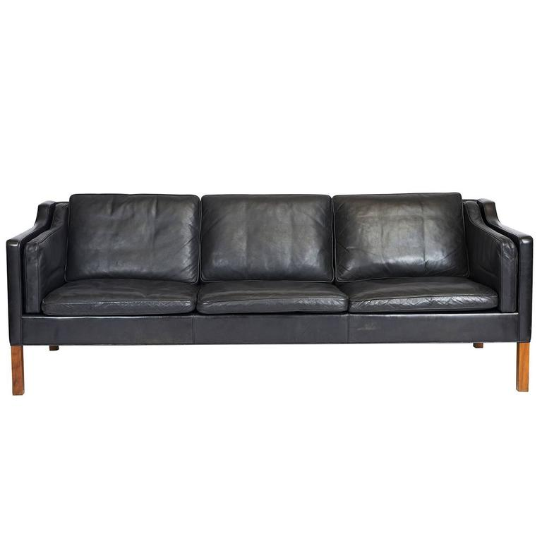 Børge Mogensen Model #2213 Three-Seat Leather Sofa