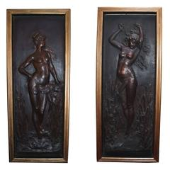 Large Pair of Art Nouveau Figural Wall Plaques with Standing Nude Maidens