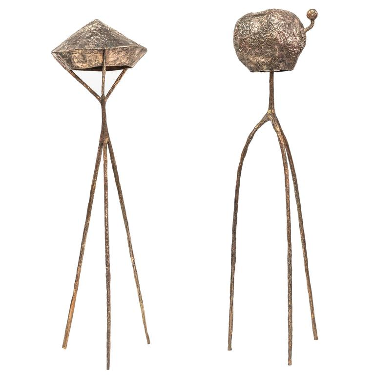 "Misha Kahn, ""Floor Lamp B"" and Floor Lamp A,"" Bronze, Gold, 2015"