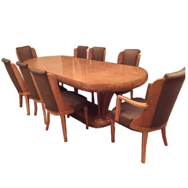 Art Deco Burl Walnut Dinning Room Set Consisting Of Table And Eight Chairs For Sale