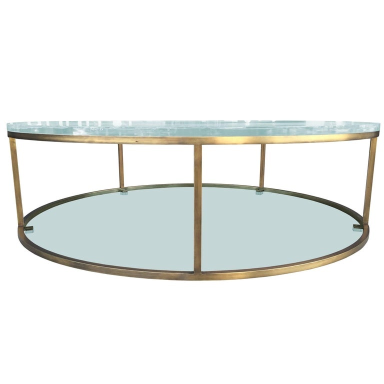 """Lucite and Solid Brass """"Aro One"""" Low Table by Amparo Calderón Tápia For Sale"""